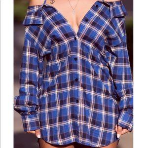 Dresses & Skirts - Flannel off the shoulder dress